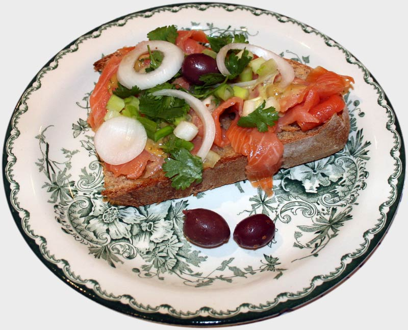 Smoked Salmon with Fresh Herbs, onions and Vidalia Onion Dressing.