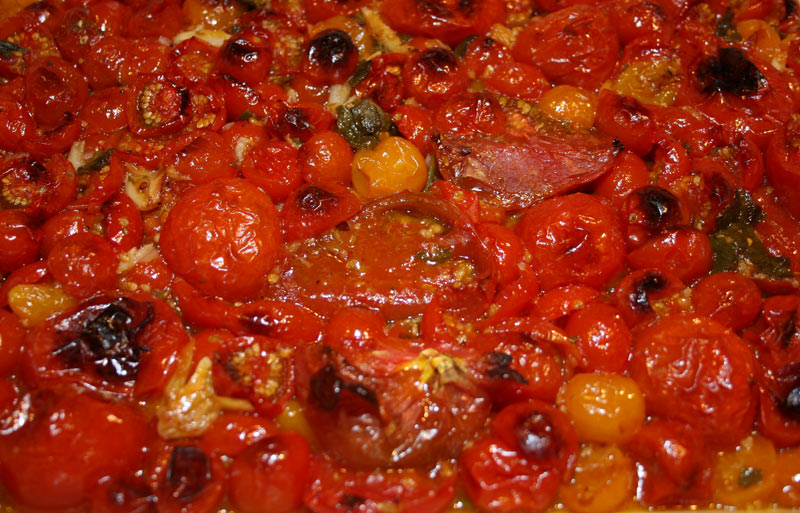 Roasted Tomatoes with Olive Oil and Garlic.