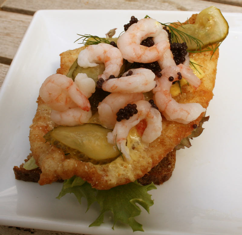 Fried Plaice with Shrimp and Caviar Sandwich