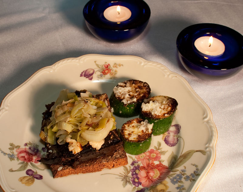 Liver Pate Sandwich with Roasted Wallnuts and Sauteed Leeks and Squash