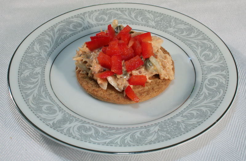 Tuna Salad on Digestive Bisquit with Chopped Red Bell Pepper