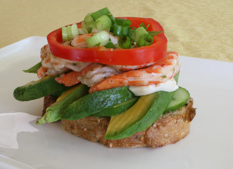 Cucumber and avocado toasted cilantro lemon shrimp sandwich