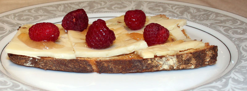 Pear jam and raspberry cummin cheese sandwich