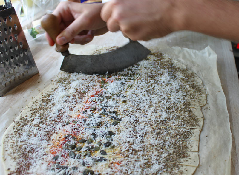 Cutting the lavash crackers