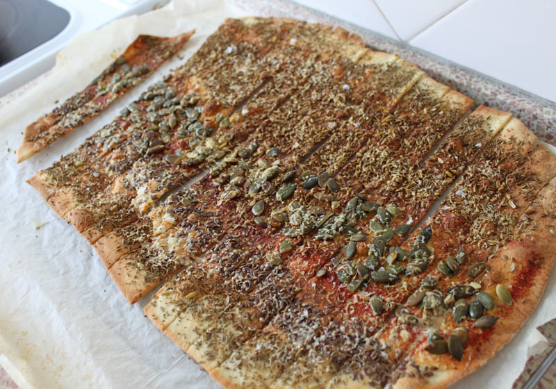 Lavash Crackers after baking. Very very good.