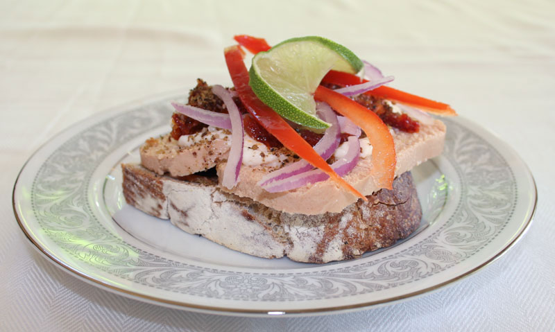 Cod Roe Sandwich with Mayonnaise, Lime, Red Bell Pepper, Sun Dried Tomato, Vodka Tomato Mustard, Onion and Dukkah