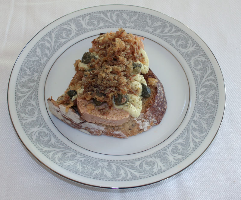 Cod Roe on Rustic Bread Sandwich with Remoulade, Capers, Fried Onions, Roasted Garlic and Ground Green Pepper