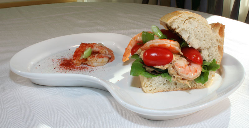 Tuna Salad on a Roll with Chili-lime shrimp, grape tomatoes, lettuce, mustard and green onions