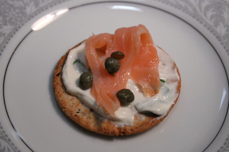 Yogurt Cheese Cracker Appetizer with Smoked Salmon and Capers