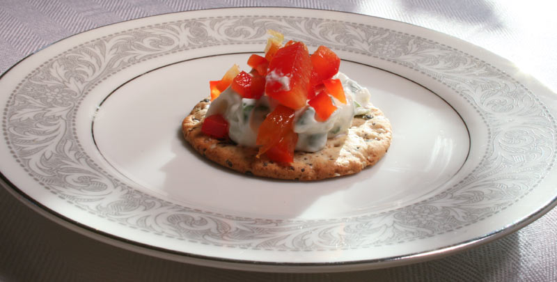 Homemade Cream Cheese Cracker Appetizer with Red Bell Pepper