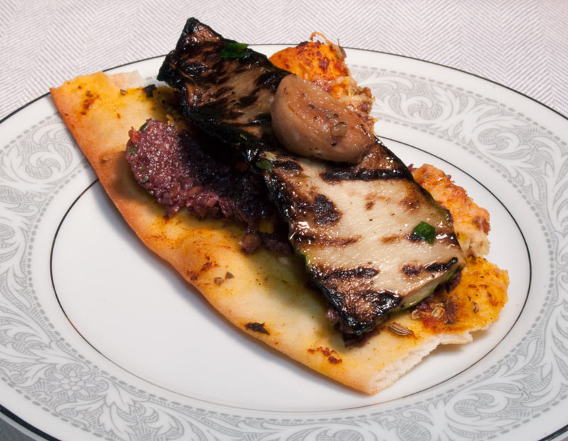Lavash with Olive Tapenade, Grilled Zuchini and Roasted Garlic