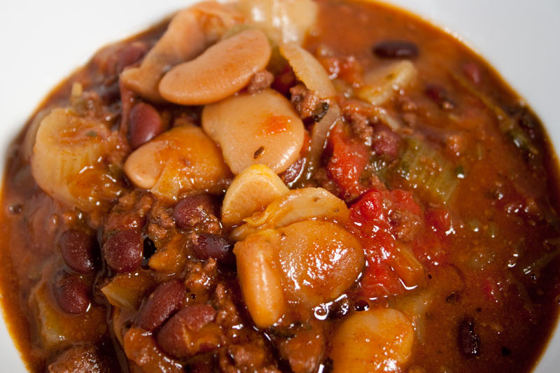 Chunky Chili with Lima and Black Beans, Fennel, Tomatoes, Red and White Wine.