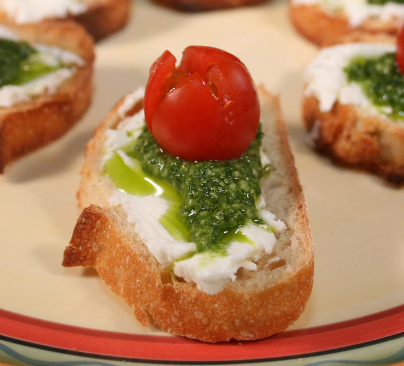 Brushetta with Goat Cheese, Homemade Pesto and Super Sweet 100 Tomato
