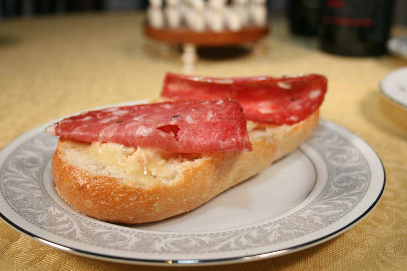 Italian Salami Sandwich with Red Hawk Cheese and Tuscan Bean Spread