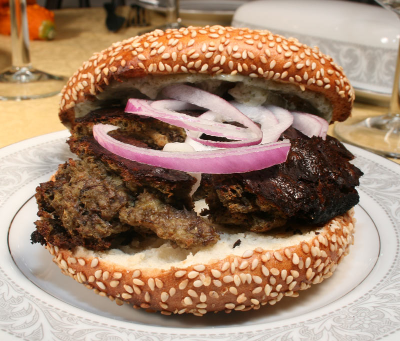 Liver Pate Sandwich with Onion and Garlic Spread on Sesame Bagel