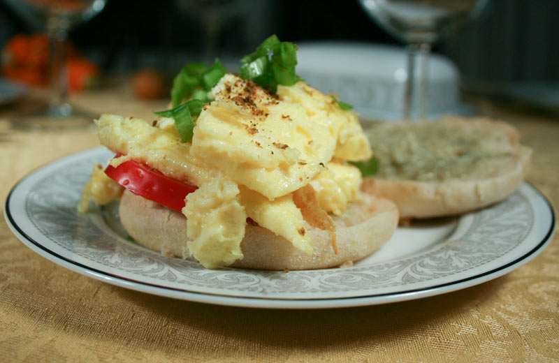 Egg Sandwich with Tarragon Infused Creamy Garlic Paste and Tomatoes
