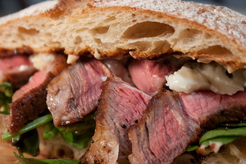 Steak Sandwich with Blue Cheese, Roasted Garlic Mayonnaise and Balsalmic Vinegar Reduction