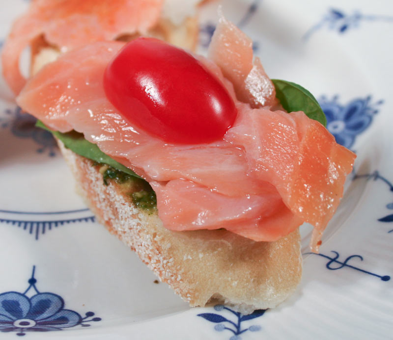 Appetizer: Homemade Pesto, Greens, Smoked Salmon and Grape Tomato