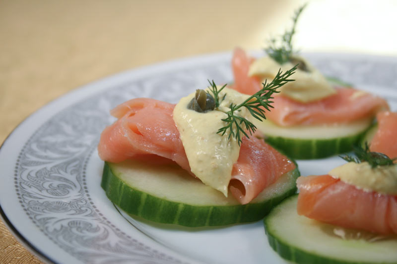 Cucumber With Smoked Salmon, Curry Mayonnaise, Capers and Dill Appetizer
