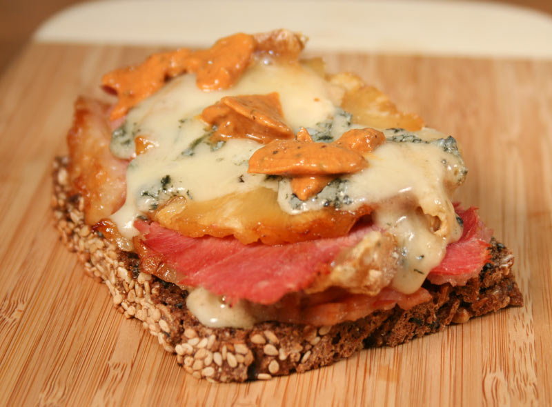 Ham with Roasted Pineapple, Valdeon Cheese and Tomato Vodka Mustard On Dark Rye Bread