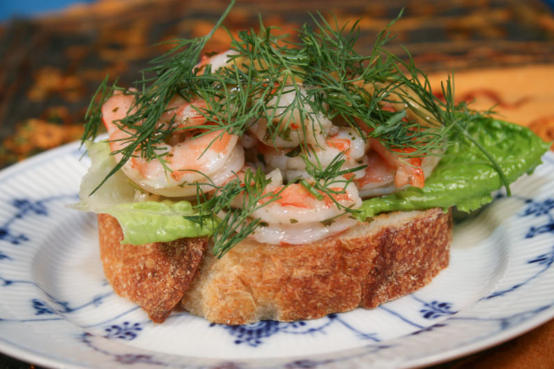 Shrimp Sandwich On An Olive and Rosemary Loaf With Lettuce, Vodka-Mustard, Gravlakssås, Lemon and Dill