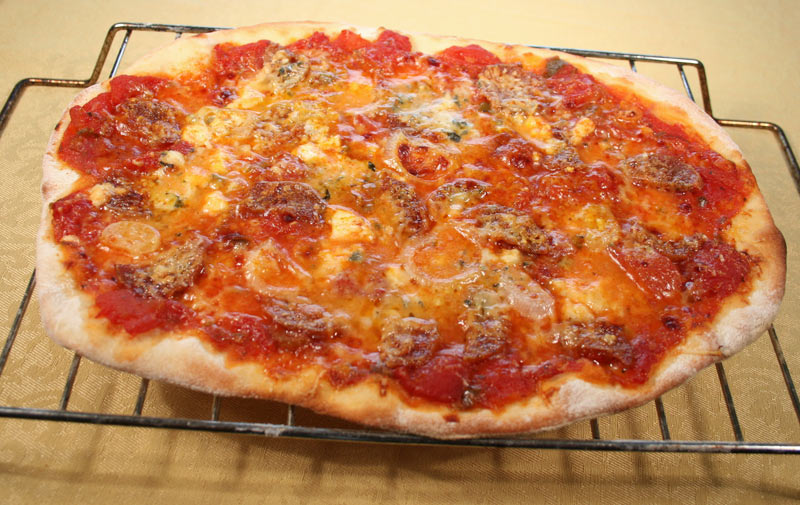 Pizza: Blue Cheese, Parmesan, Organic Sausage and Onion