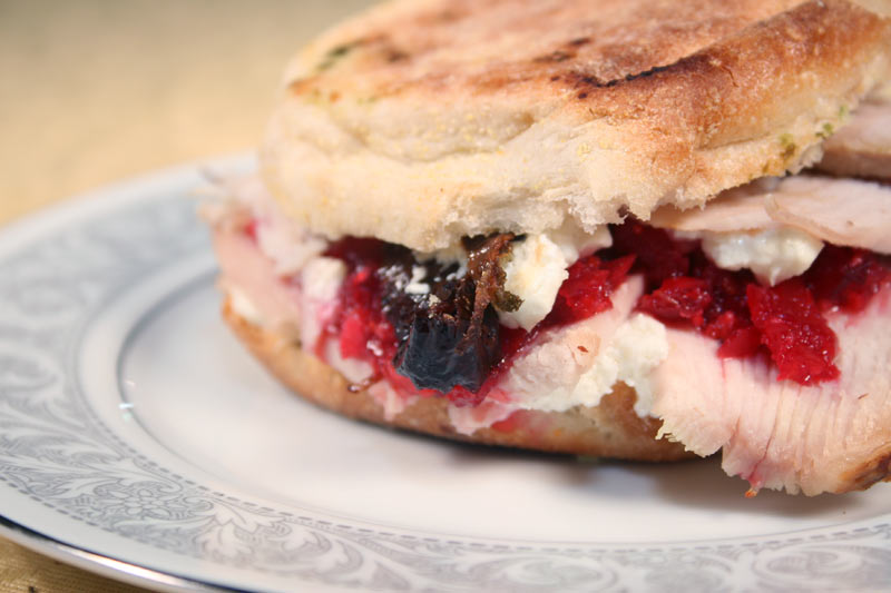 Turkey Sandwich With Cranberry Relish and Goat Cheese