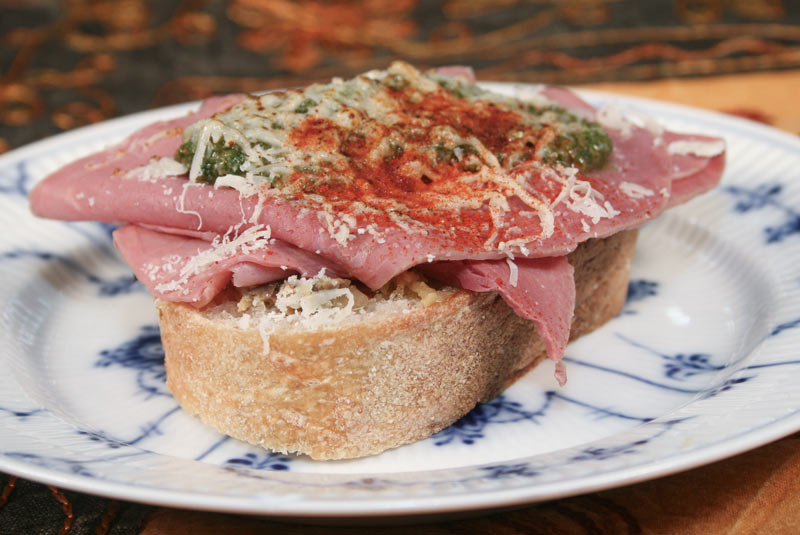 Sandwich Recipe: Corned Beef On Olive-Rosemary Bread with Muffaletta, Parmesan and Pesto