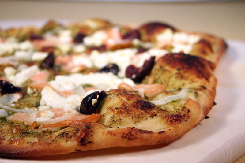 Smoked Salmon Pizza with Goat Cheese, Olives and Pesto-Mascarpone