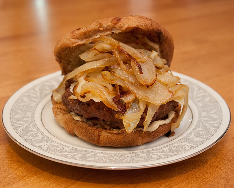 Burger with Roasted Garlic Mayo and Caramelized Onions