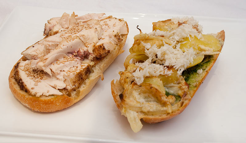 Chicken Sandwich with Potatoes a Gratin And Fresh Horseraddish