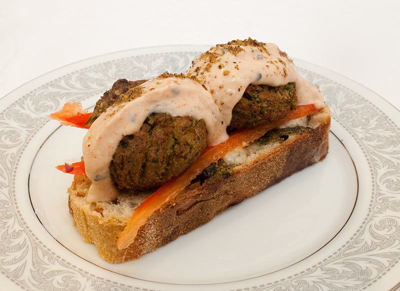 Ciabatta Falafel Sandwich with Red Pepper And Paprika And Roasted Garlic Dressing