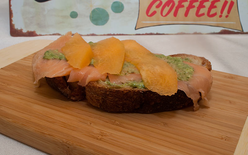 Mascarpone Pesto With Smoked Salmon Sandwich Topped With Honeydew Melon