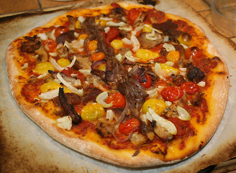 "Alton Brown's ""Who Loves Ya Baby-Back Ribs"" Pizza"