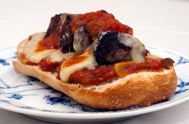 Meatball Sandwich With Tomato Sauce, 'Præstost' Cheese - on Demi Baguette