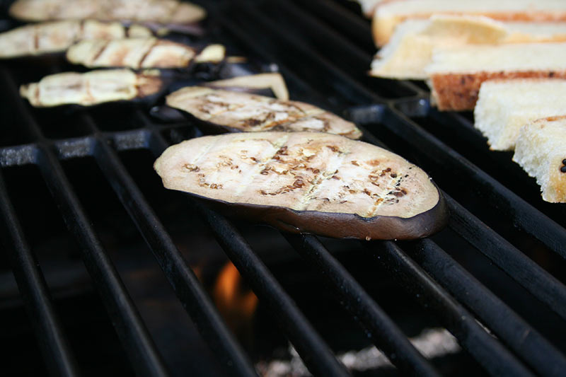 Grilling eggplant slices for sandwich