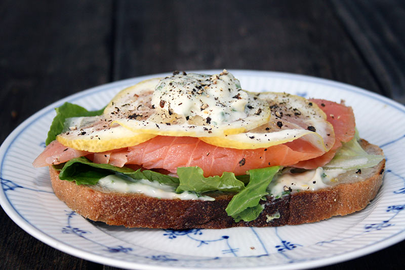 Smoked Salmon with Cilantro Mayonnaise Sandwich