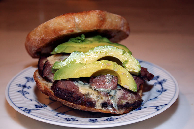 Upside Down Fajita Steak Blue Cheese Avocado Burger