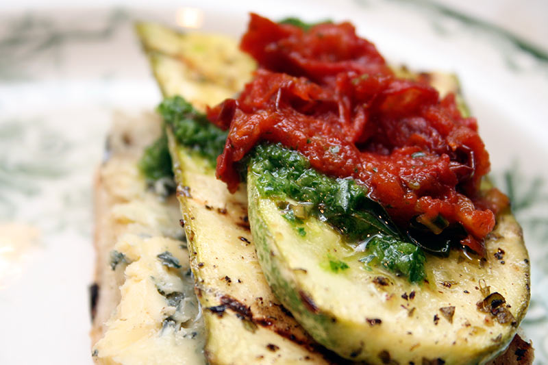 Grilled Zucchini Sandwich With Oven Roasted Tomatoes And Hot Salsa Verde