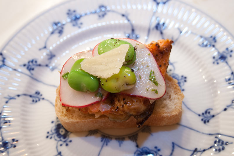 Grilled Salmon With Fava Beans, Parmesan And Radish Sandwich