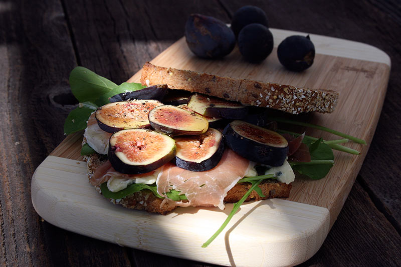 Figs Prosciutto Blue Cheese and Arugula Sandwich