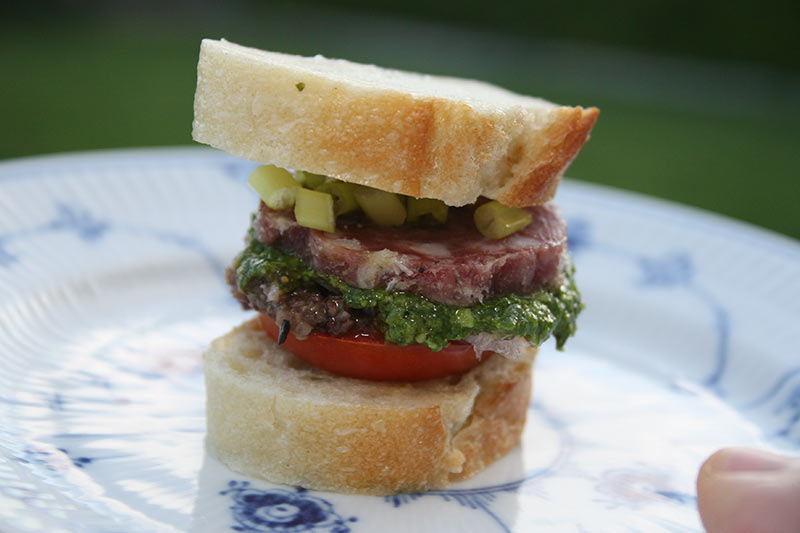 Mini Baguette Salami Sandwich With Pesto