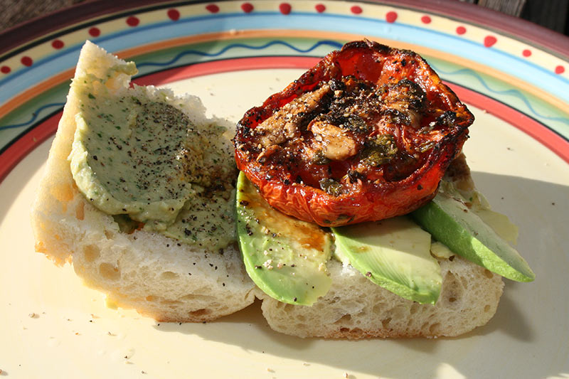 Toasted Tomato with Avocado Sandwich