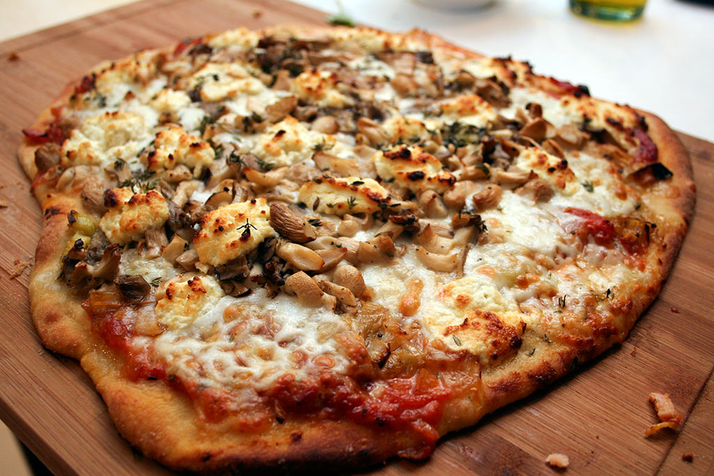 Pizza With Sautéed Leeks, Grilled Mushrooms and Goat Cheese Whipped ...