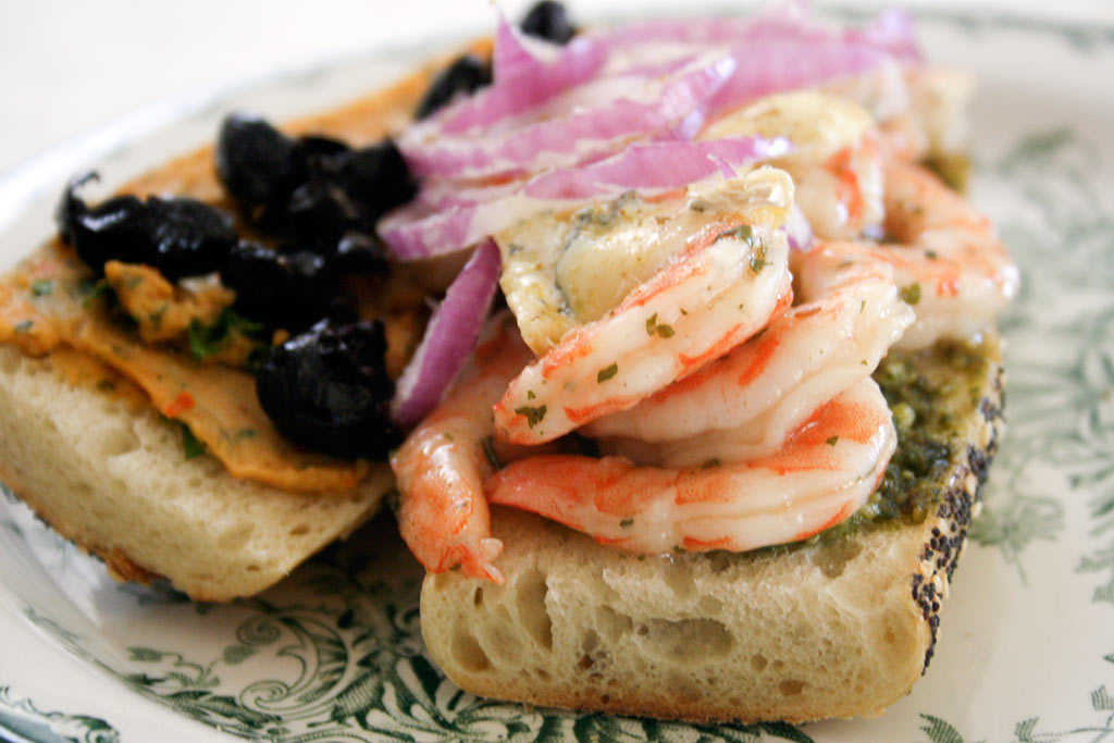 Crazy for Shrimp: Sandwich With Cilantro Lime Shrimp, Red Onions, Black Olives And Pesto