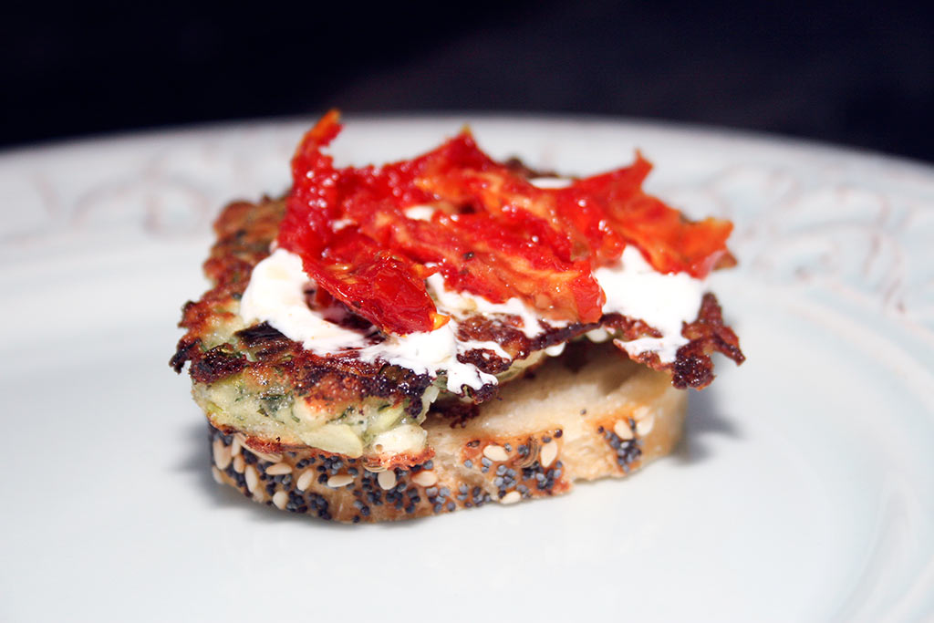 Zucchini Fritter Sandwich With Sun Dried Tomatoes