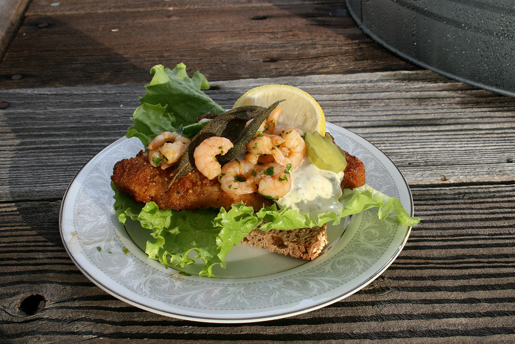 Classic Danish fish-fillet open faced sandwich