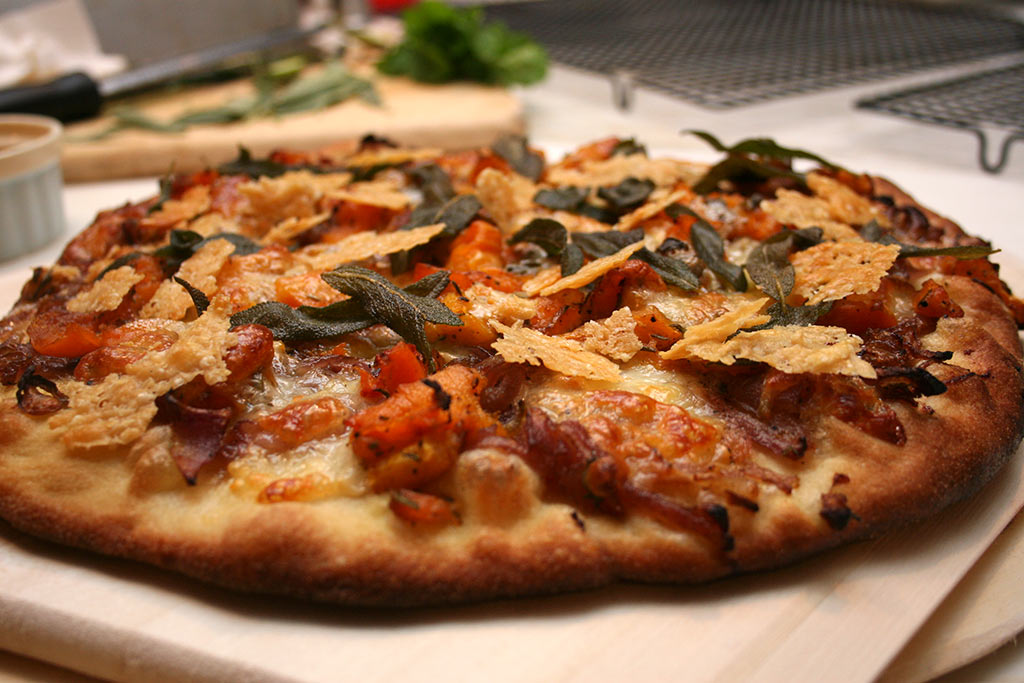 Pizza! Caramelized Onions With Roasted Butternut Squash, Blue Cheese, Fried Sage And Parmesan Crisps