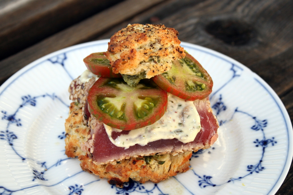 Savory Scone Sandwich with Seared Ahi Tuna