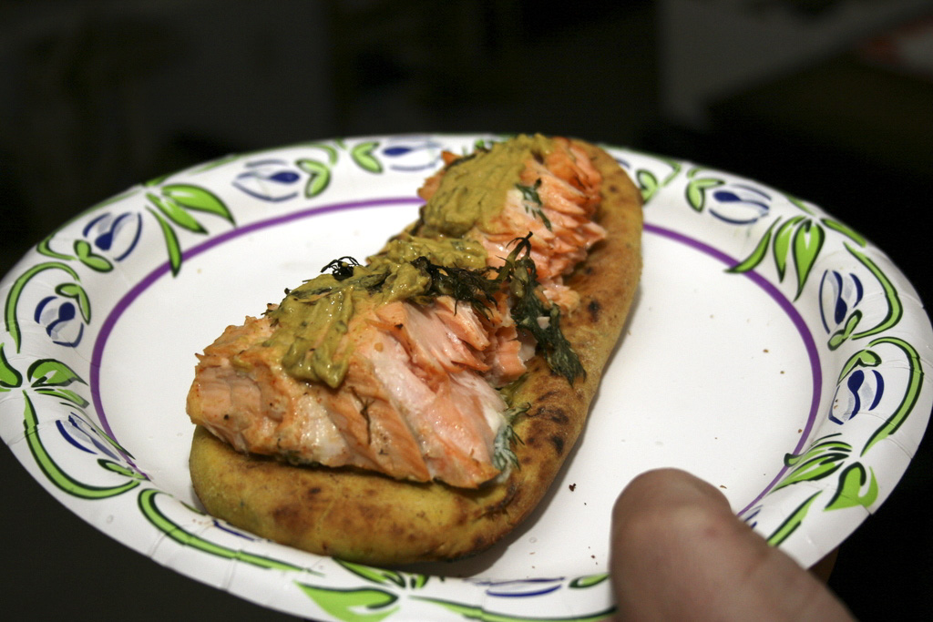 Salmon on Naan With Tarragon Mustard Sandwich
